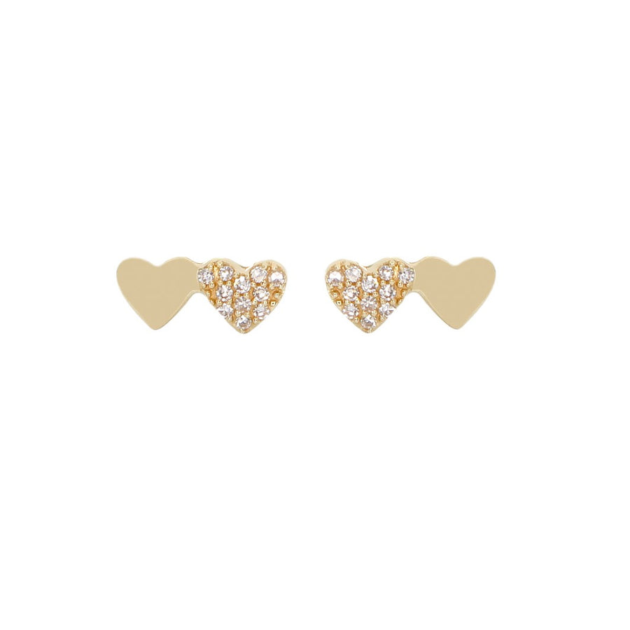 Gold Double Heart Diamond Stud - 14KT Gold - Monisha Melwani Jewelry