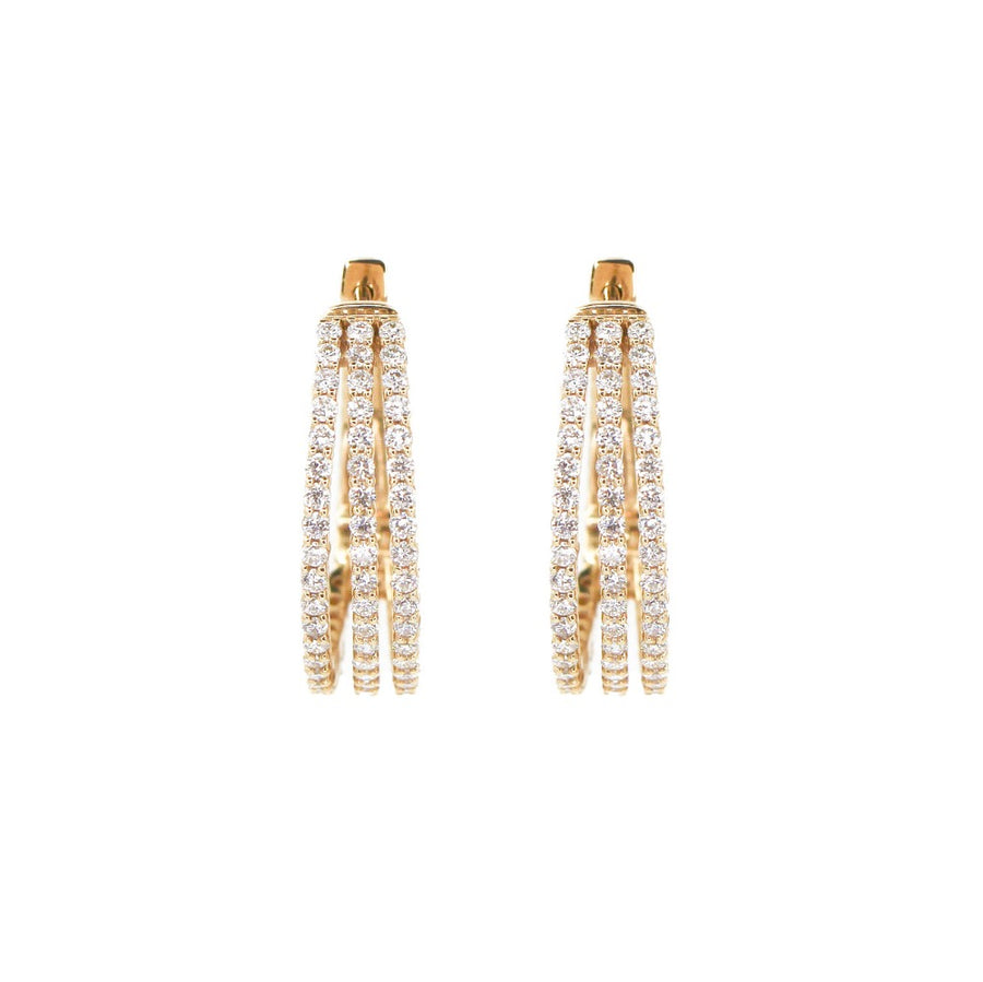 14KT Yellow Gold Diamond 3 Line Hoop Earrings- Monisha Melwani Jewelry