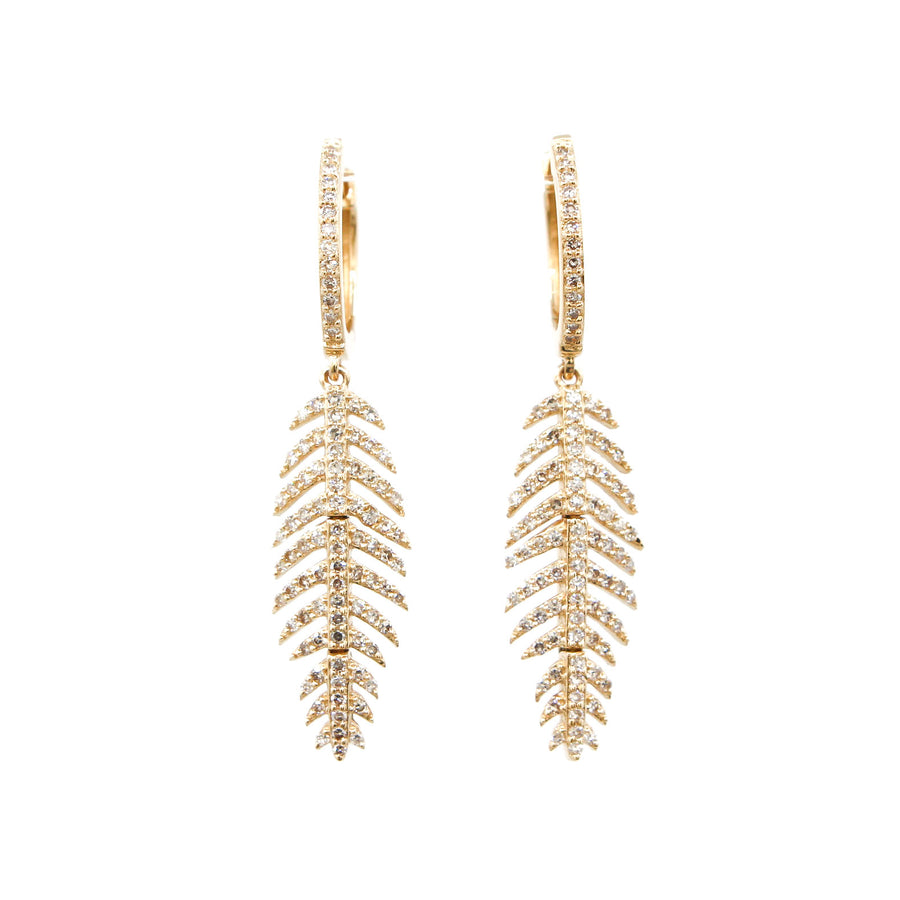 14KT Yellow Gold Diamond Feather Earrings Fine Jewelry
