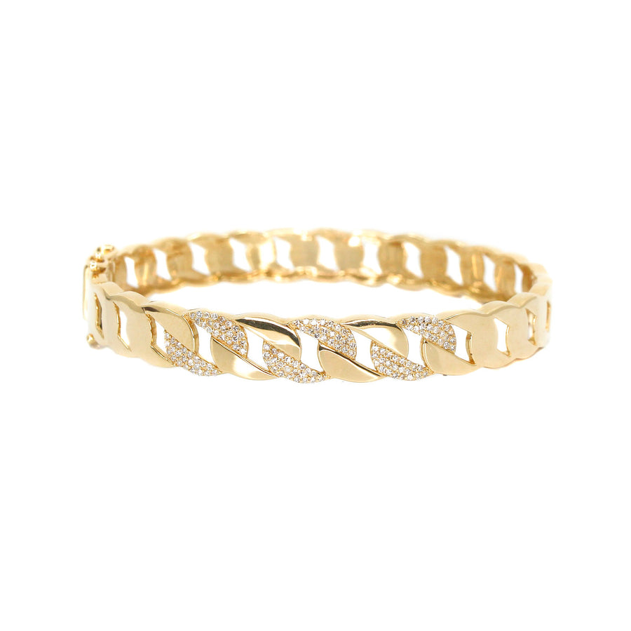 14KT Yellow Gold Diamond Cuban Link Bangle- Monisha Melwani Jewelry
