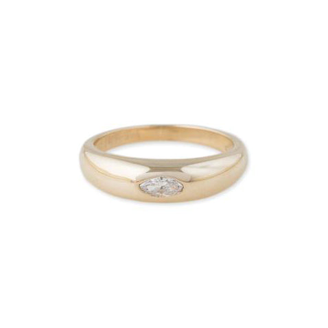 Gold Dome Diamond Ring  - 14kt Gold - Monisha Melwani Jewelry