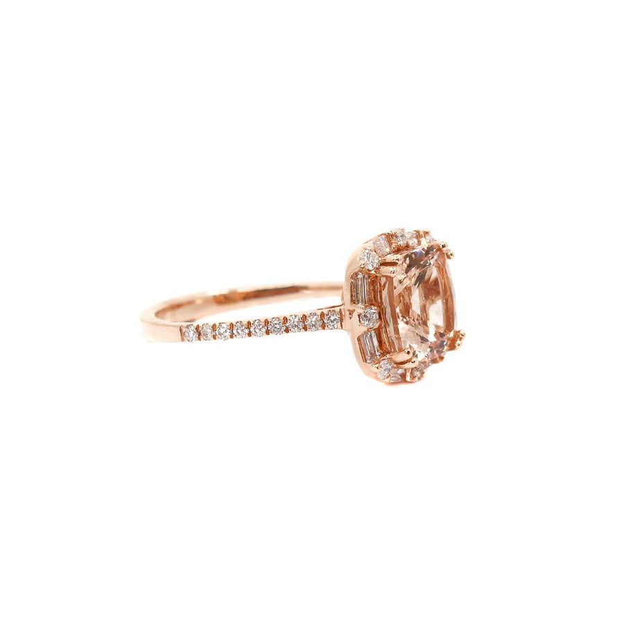 14KT Rose Gold Morganite & Diamond Ring- Monisha Melwani Jewelry