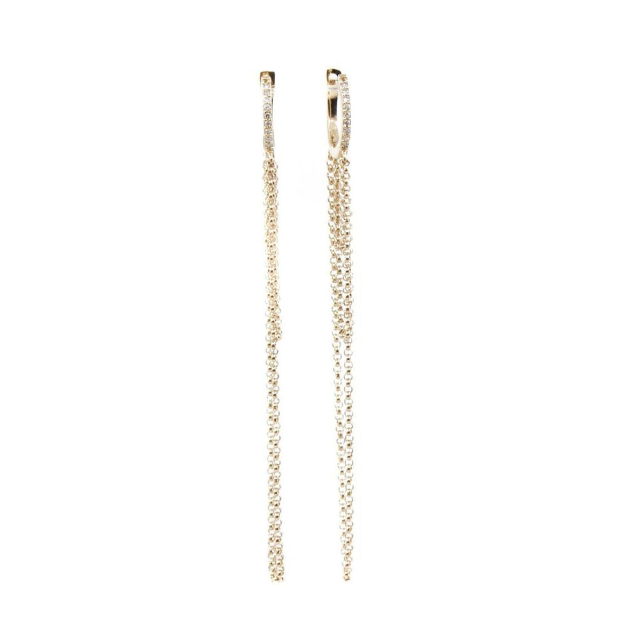 Diamond Hoop Chain Earrings - 14KT Gold - Monisha Melwani Jewelry