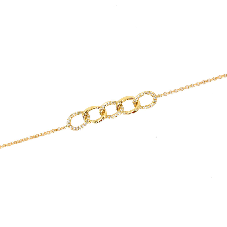 18KT Yellow Gold Diamond Mini Link Bracelet- Monisha Melwani Jewelry