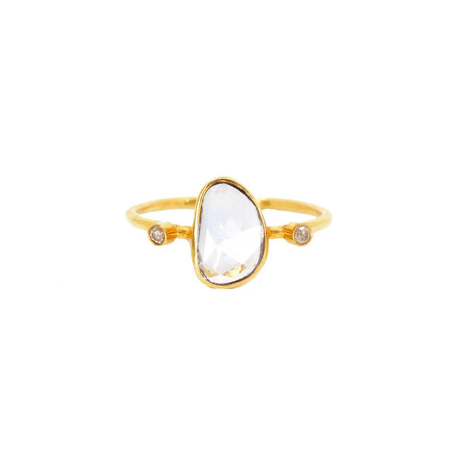 14KT Yellow Gold Diamond Topaz Ring- Monisha Melwani Jewelry