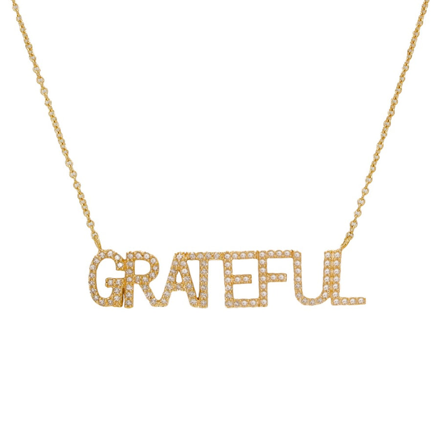 Gold Diamond Grateful Necklace - 14KT Gold - Monisha Melwani Jewelry