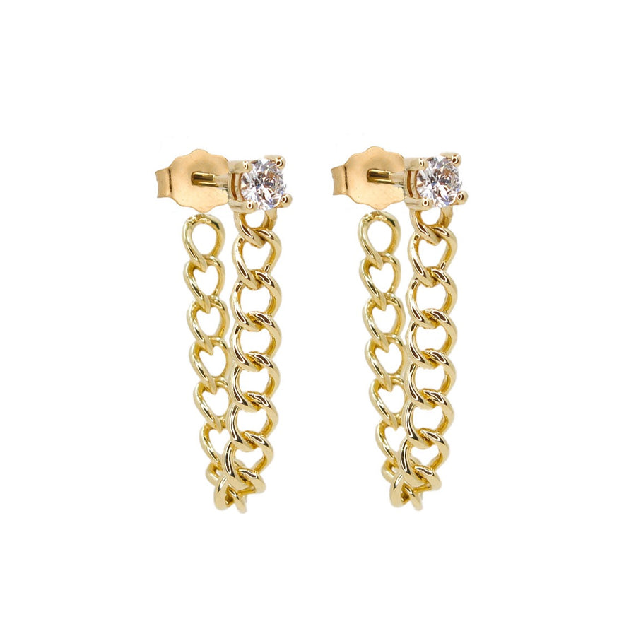 Gold Diamond Prong Curb Link Earring