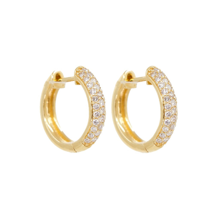 14KT Yellow Gold Pave Diamond Hoop Earrings- Monisha Melwani Jewelry