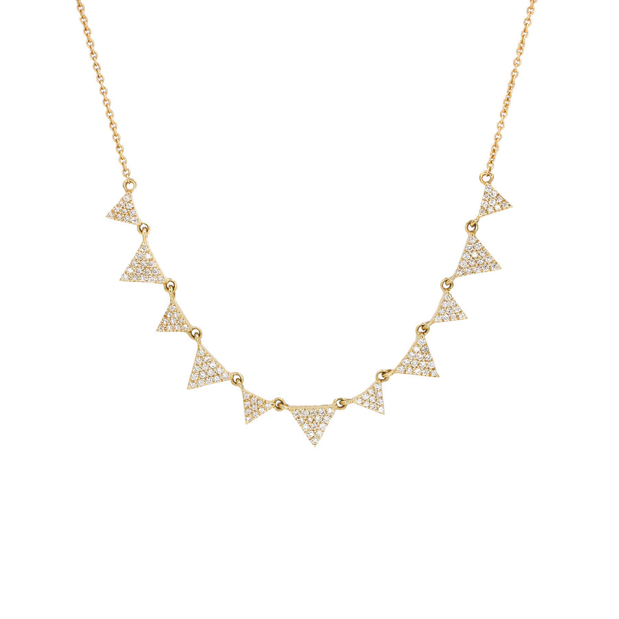 14KT Yellow Gold Diamond Triangle Necklace Fine Jewelry