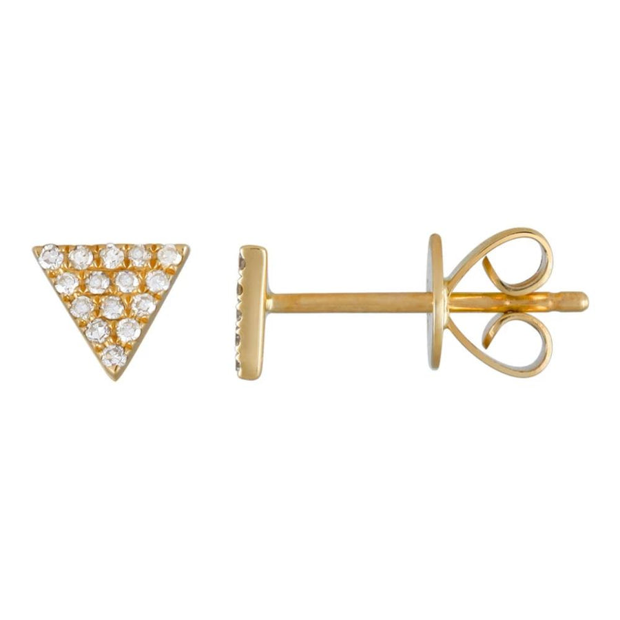 Diamond Mini Triangle Earrings - 14KT Gold - Monisha Melwani Jewelry