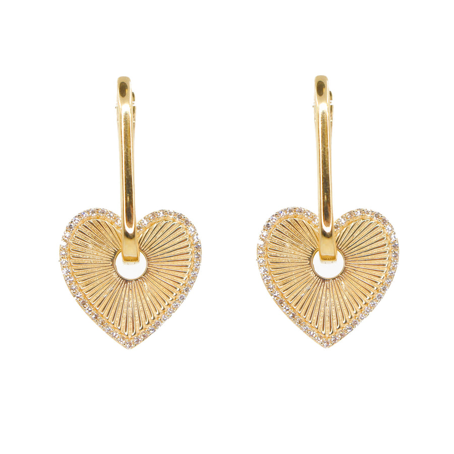 Gold Diamond Heart Rectangle Hoop Earrings