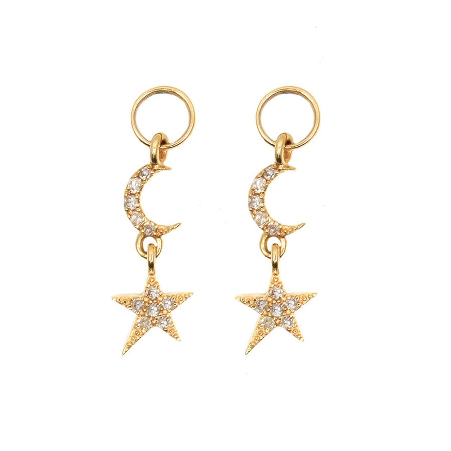 14KT Yellow Gold Diamond Star and Moon Earring Charm- Monisha Melwani Jewelry