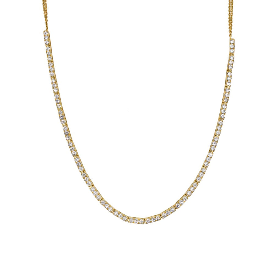 Gold Diamond Bar Tennis Necklace - 14KT Gold - Monisha Melwani Jewelry