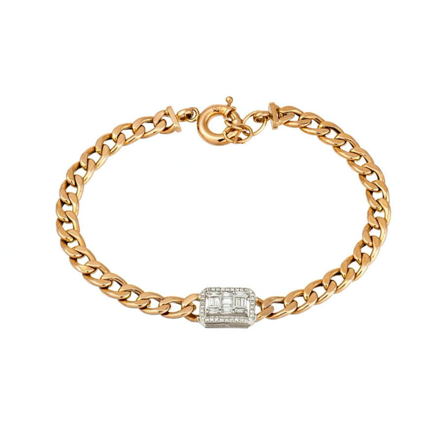 Gold Diamond Baguette Cuban Link Bracelet - 18KT Gold - Monisha Melwani Jewelry