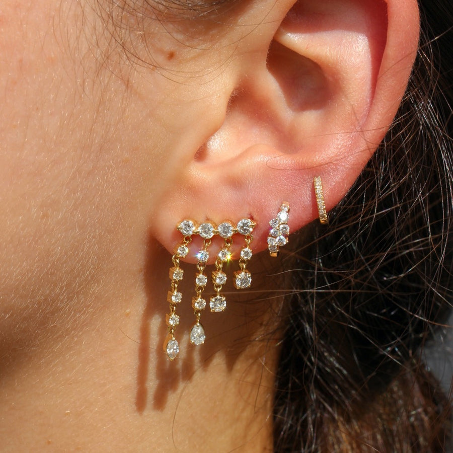 Diamond Waterfall Drop Earrings - 18KT Gold - Monisha Melwani Jewelry