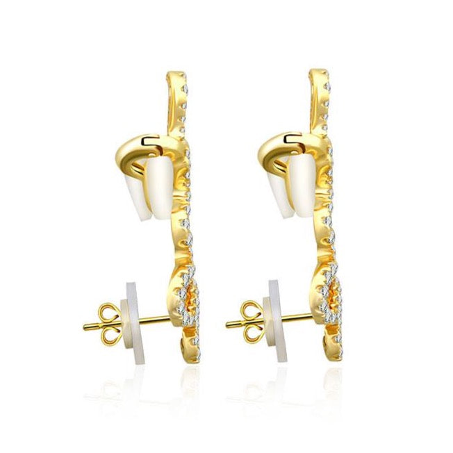 Gold Long Diamond Snake Diamond Ear Climber - 18KT Gold - Monisha Melwani Jewelry
