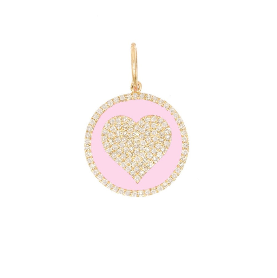 Gold Pink Enamel Diamond Heart Pendant