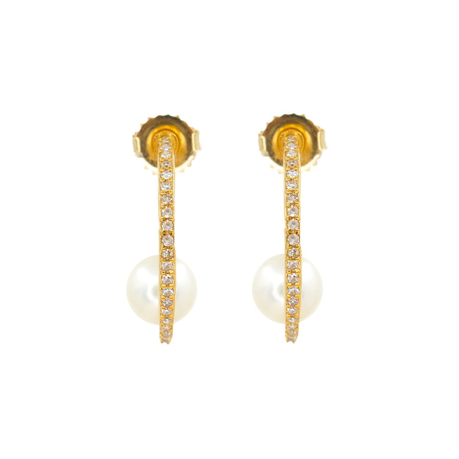 14KT Yellow Gold Diamond Floating Pearl Hoop Earrings- Monisha Melwani Jewelry
