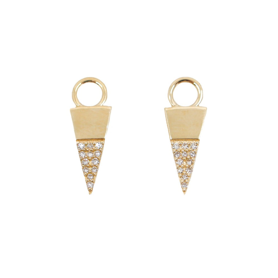 14KT Yellow Gold Diamond Triangle Earring Charm- Monisha Melwani Jewelry