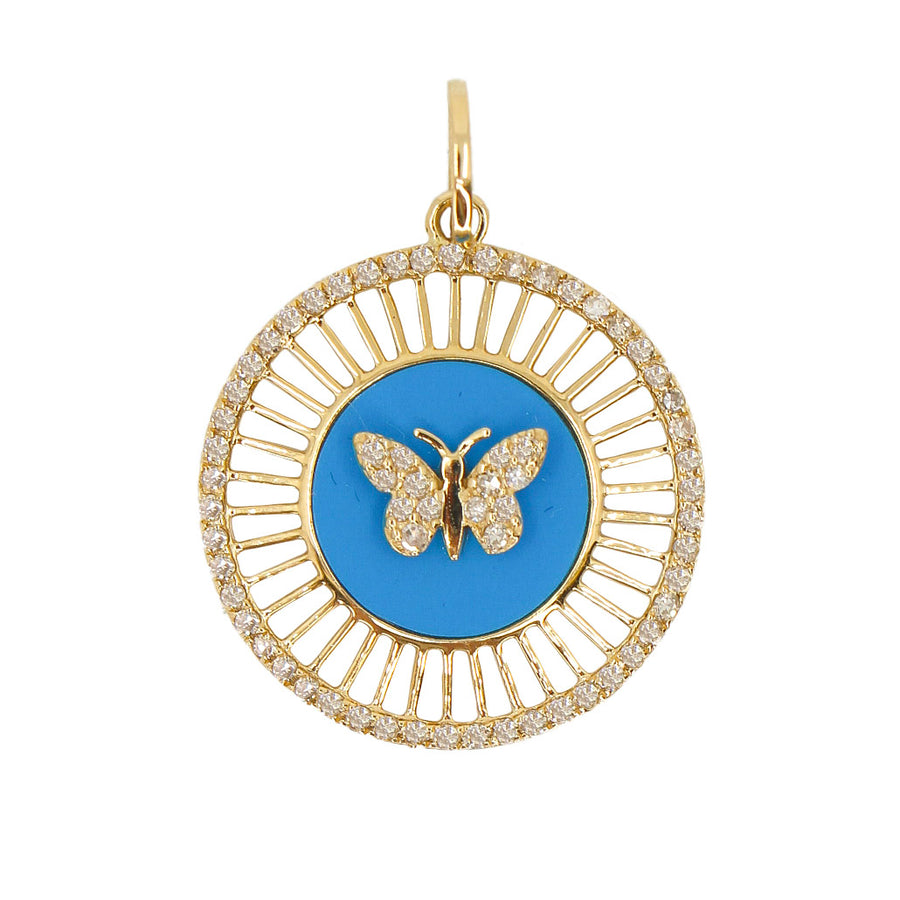 Gold Turquoise Diamond Butterfly Medallion Pendant