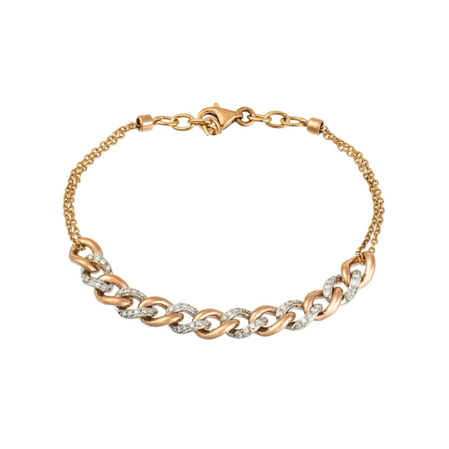 Gold Two Tone Diamond Cuban Link Chain Bracelet - 18KT Gold - Monisha Melwani Jewelry