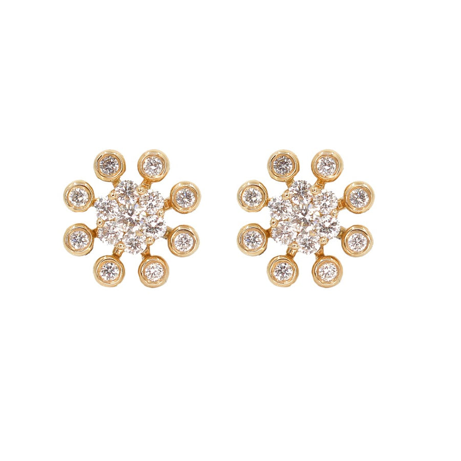 14KT Yellow Gold Diamond Bezel Flower Stud Earrings- Monisha Melwani Jewelry