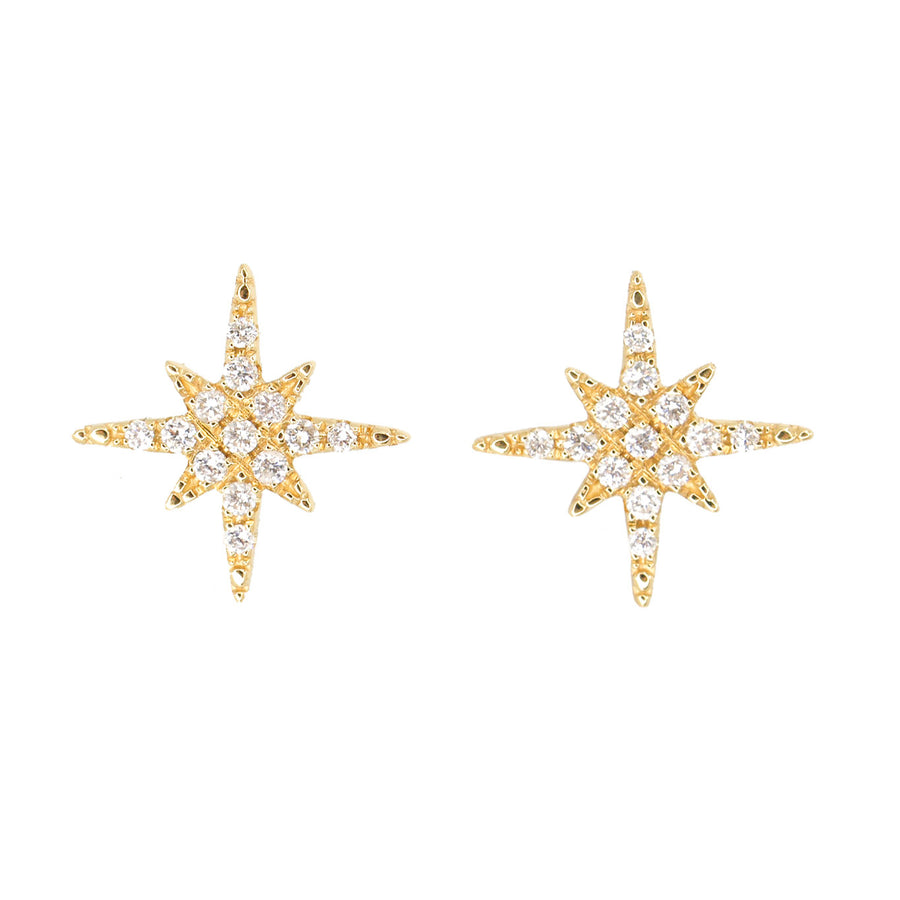 18KT Yellow Gold Diamond Starburst Stud Earrings- Monisha Melwani Jewelry
