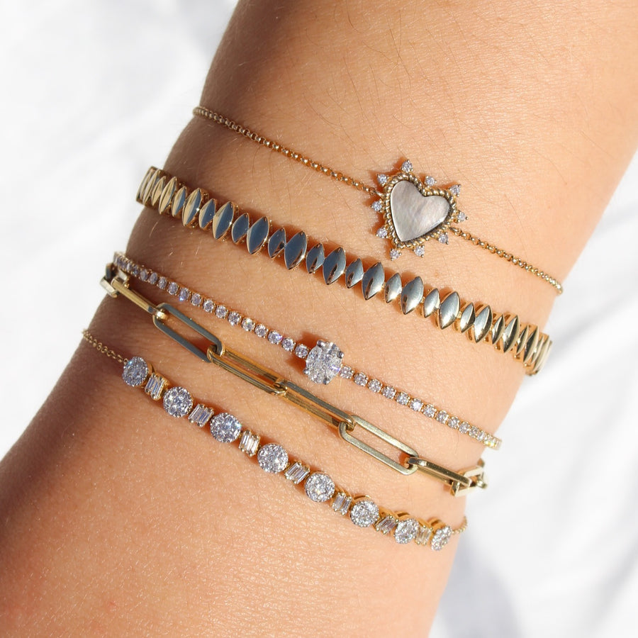 Gold Mother Of Pearl Diamond Heart Bracelet - 14KT Gold - Monisha Melwani Jewelry