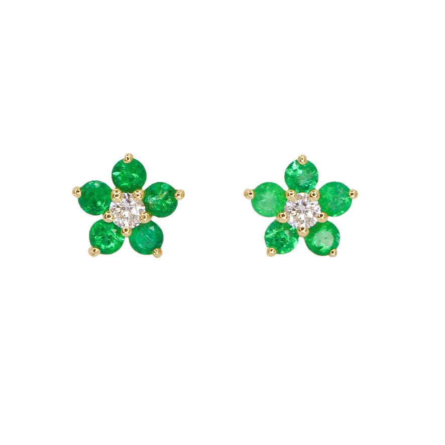 Gold Mini Emerald Flower Stud - 14KT Gold - Monisha Melwani Jewelry