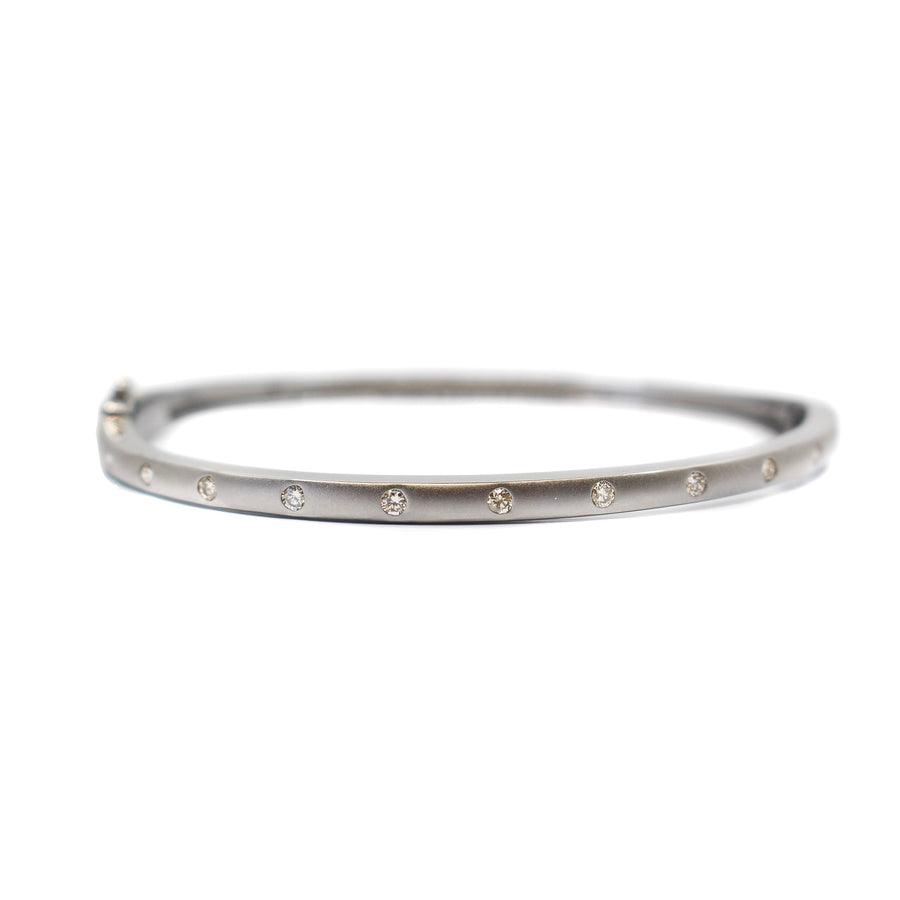 Sterling Silver Diamond Bangle - Sterling Silver - Monisha Melwani Jewelry