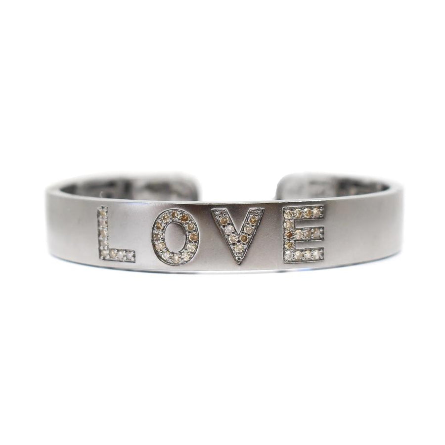 Sterling Silver Love Cuff Bangle - Sterling Silver - Monisha Melwani Jewelry
