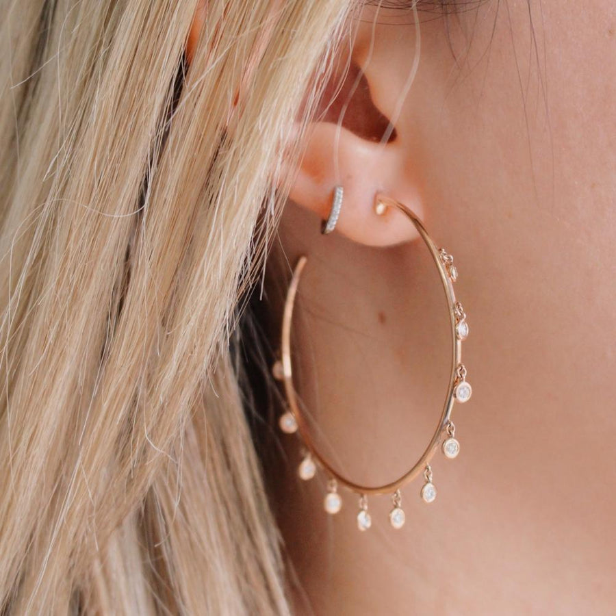 Rose Gold Dangling Diamond Hoop Earrings - 14KT Gold - Monisha Melwani Jewelry