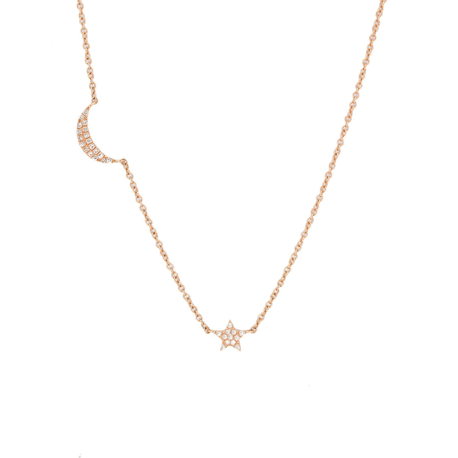 14KT Rose Gold Diamond Moon and Star Necklace- Monisha Melwani Jewelry
