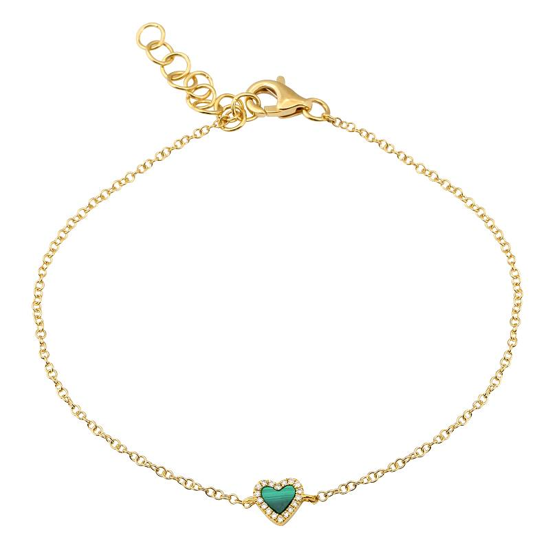 Gold Mini Malachite Heart Bracelet - 14KT Gold - Monisha Melwani Jewelry