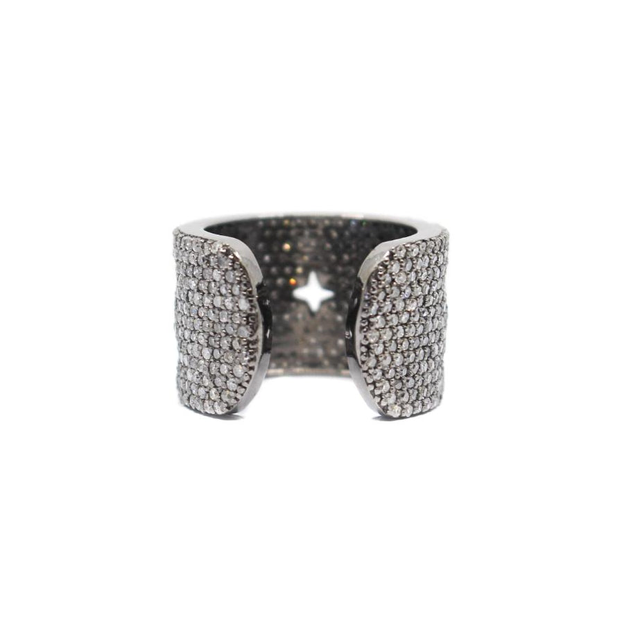 Pave Diamond Multi Star Cuff Ring - Sterling Silver - Monisha Melwani Jewelry