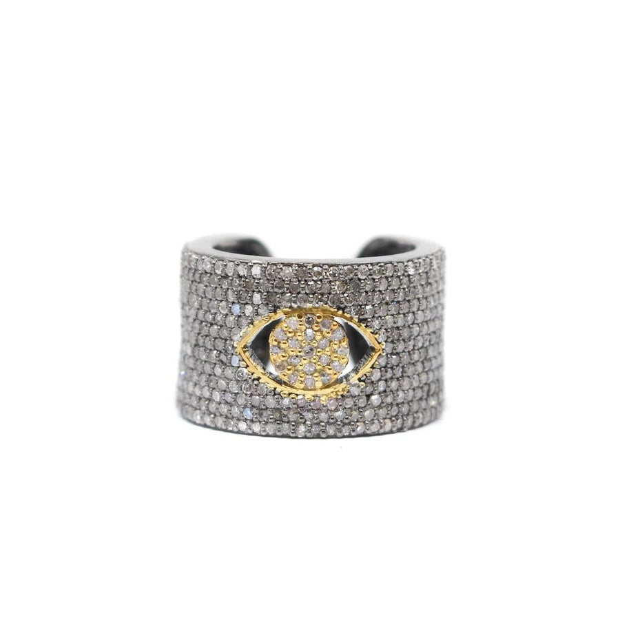 Pave Diamond Evil Eye Cuff Ring - Sterling Silver - Monisha Melwani Jewelry