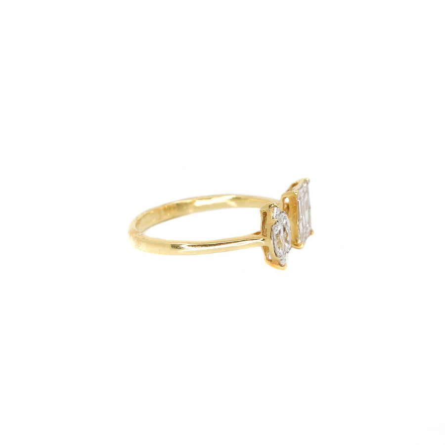18KT Yellow Gold Diamond Illusion Open Ring- Monisha Melwani Jewelry