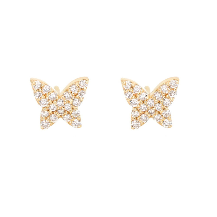 14KT Yellow Gold Pave Diamond Butterfly Earrings- Monisha Melwani Jewelry