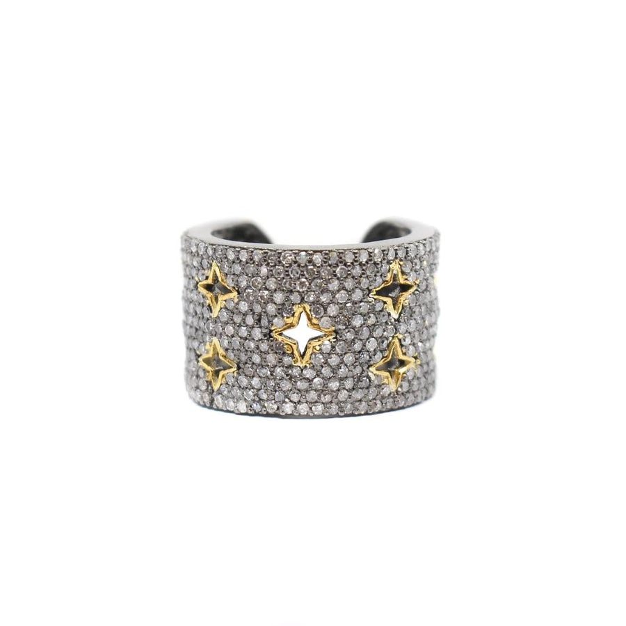 Pave Diamond Multi Star Gold Cuff Ring - Sterling Silver - Monisha Melwani Jewelry