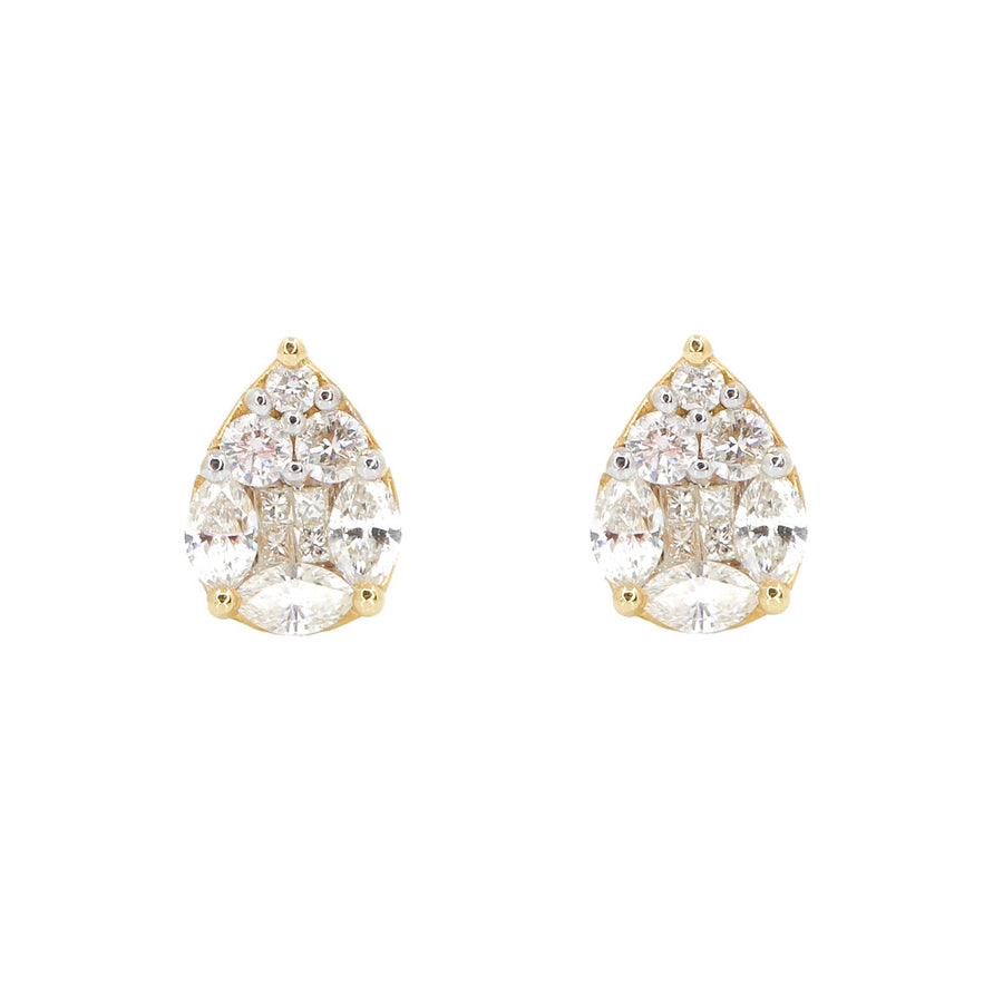 18KT Yellow Gold Diamond Teardrop Stud Earrings- Monisha Melwani Jewelry