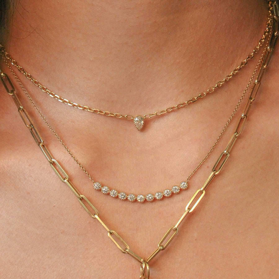 Pear Shape Diamond Prong Necklace - 14KT Gold - Monisha Melwani Jewelry
