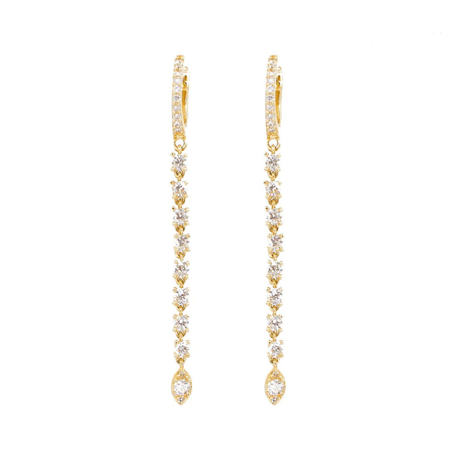 14KT Yellow Gold Diamond Long Drop Hoop Earrings- Monisha Melwani Jewelry