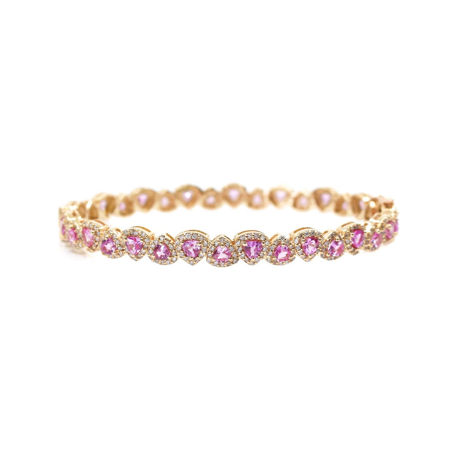 Gold Pear Shaped Pink Sapphire Bangle - 14KT Gold - Monisha Melwani Jewelry