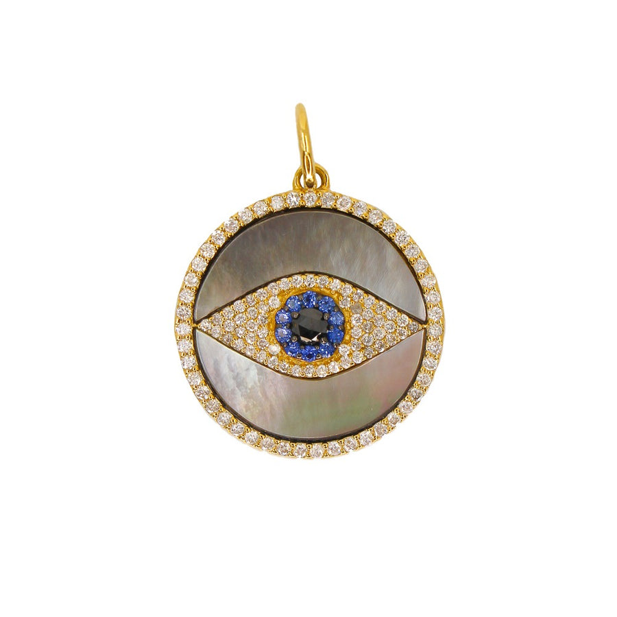 Gold Evil Eye Mother of Pearl Diamond Pendant - 14KT Gold - Monisha Melwani Jewelry