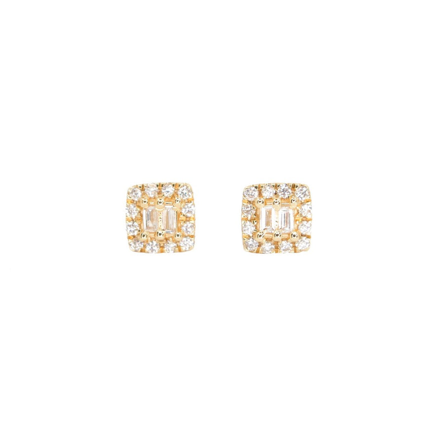 14KT Yellow Gold Diamond Mini Square Earrings- Monisha Melwani Jewelry