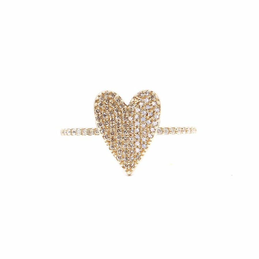 Pave Diamond Heart Ring - 14KT Gold - Monisha Melwani Jewelry