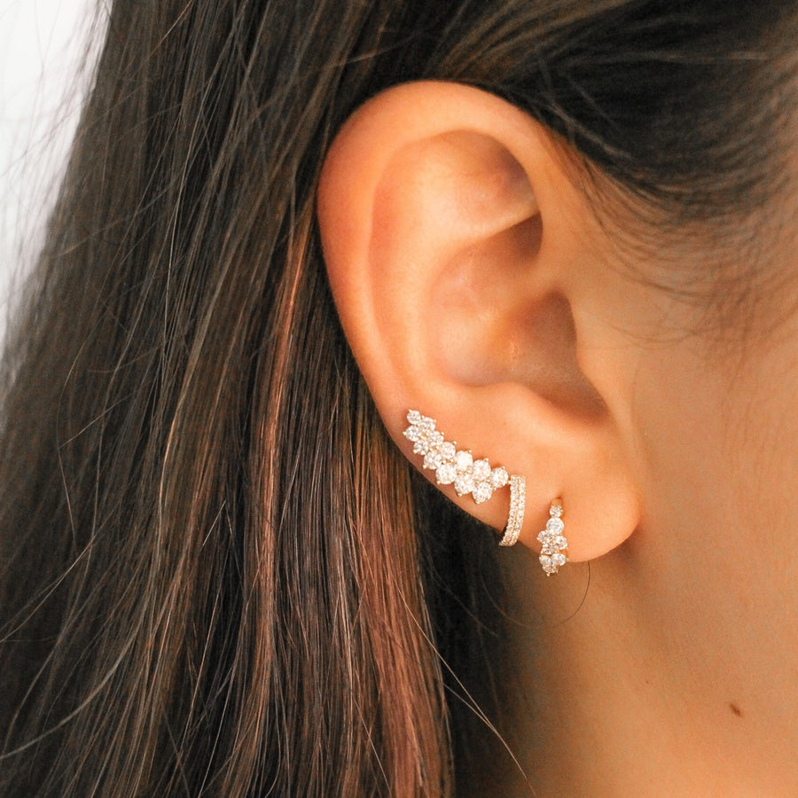 Gold Diamond Cluster Ear Climbers - 14KT Gold - Monisha Melwani Jewelry