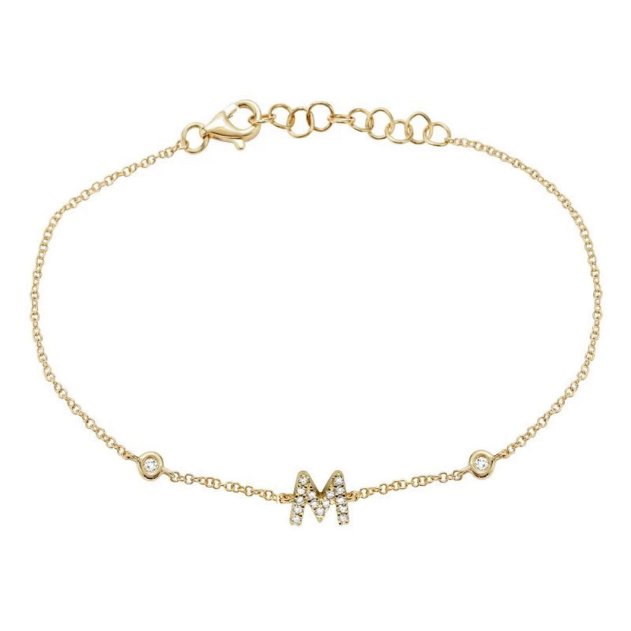 Gold Initial Diamond Bracelets - 14KT Gold - Monisha Melwani Jewelry