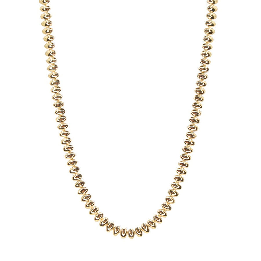 Gold Oval Curve Necklace - 14KT Gold - Monisha Melwani Jewelry