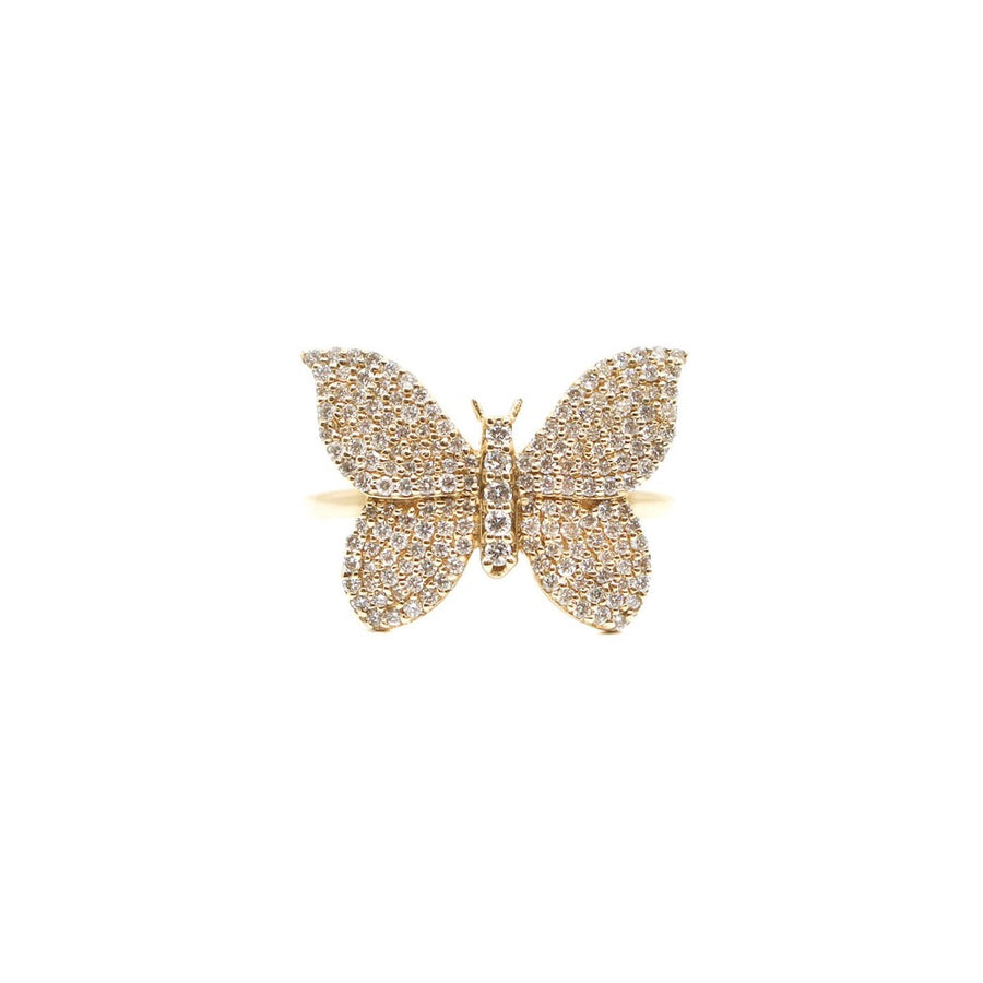 Gold Pave Diamond Butterfly Ring